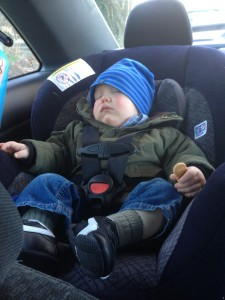 Baby B asleep in the car