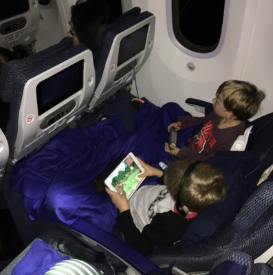 child sleep on a plane